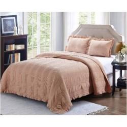 Комплект кувертюра за легло & калъфки за възглавници в екрю