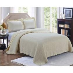 Комплект кувертюра за легло & калъфки за възглавници в кремаво