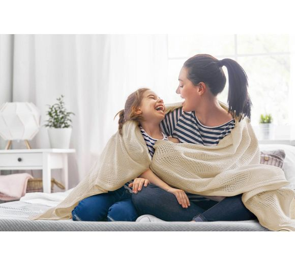 Памучно лятно ажурено одеяло в цветове - 1
