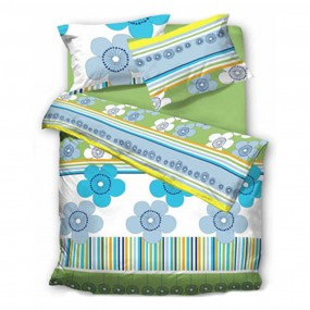 Спален комплект Зелена игра със сини цветя -158