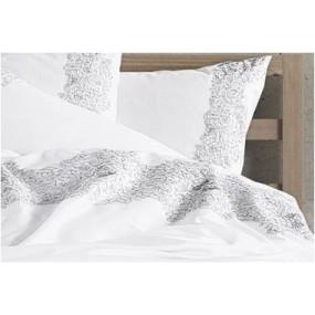 Луксозен спален комплект с бродерия в сиво