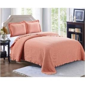 Комплект ковертюра за легло & калъфки за възглавници в керемидено
