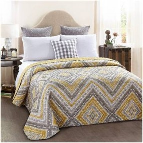 Modern design double-sided quilt cover - Mustard